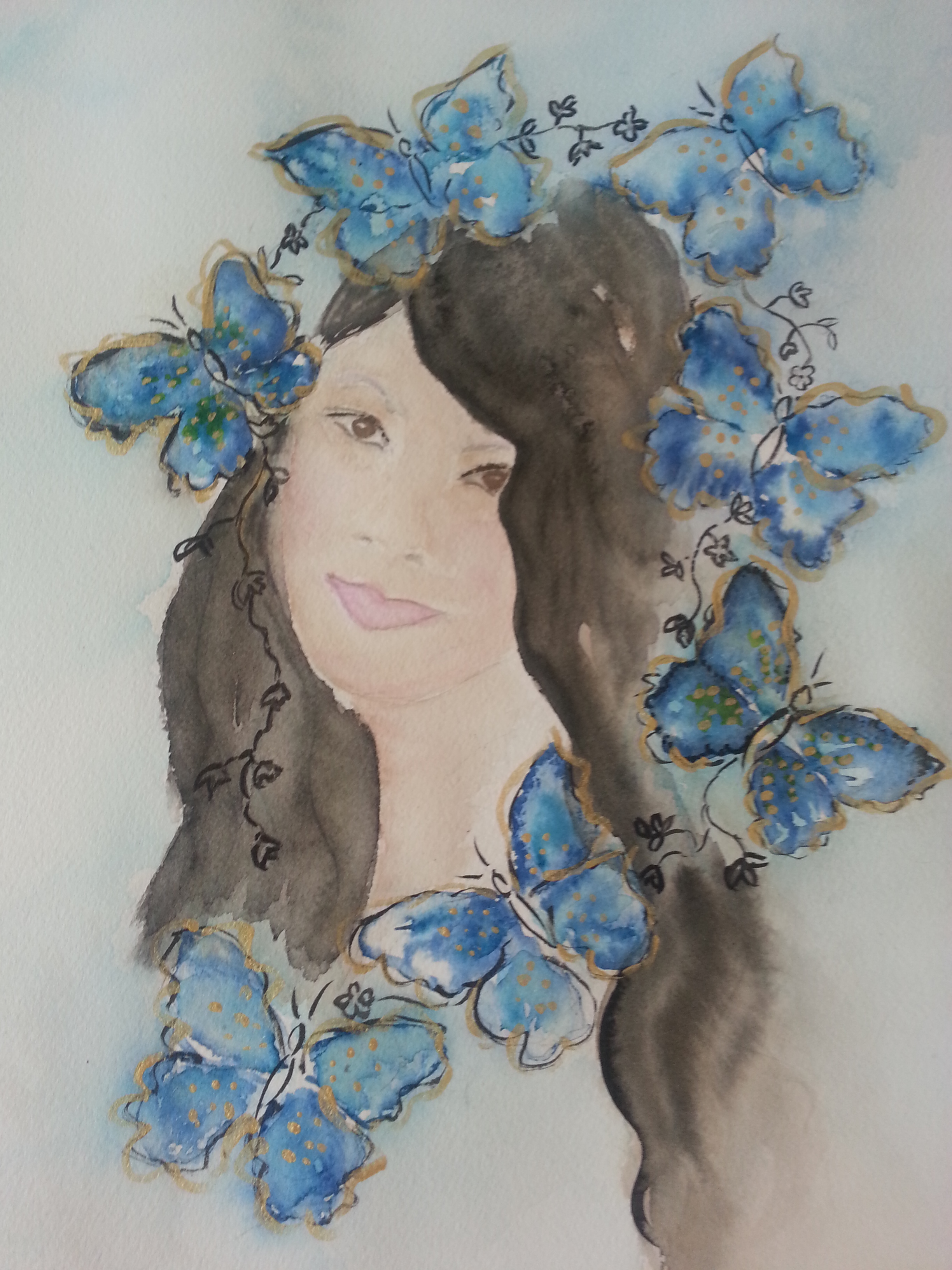 This painting was donated to Meliissa B Geltch who is the founder of a charity called Night Butterflies in Bali
