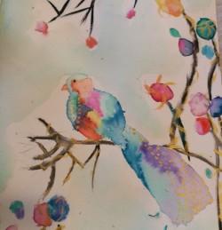 Watercolour bird exercise